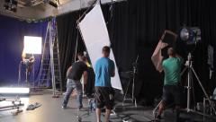 Preparations for filming in the process. Installation of lighting devices - stock footage