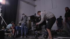 Preparation before beginning filming on a professional camera. Film production - stock footage