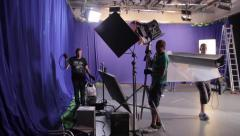 Employees of the Studio at work on the set of the film. Film production Stock Footage