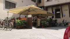 Italian Car & Restaurant, Piazza del Duomo, Florence, Tuscany, Italy, Europe Stock Footage