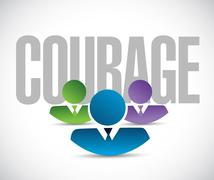 courage team sign illustration design graphic - stock illustration