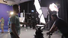The camera moved through the Studio before filming. Film production Stock Footage