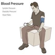 Male Taking Blood Pressure - stock illustration
