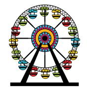 Abstract Ferris Wheel Icon - stock illustration