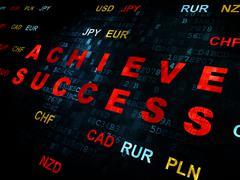 Business concept: Achieve Success on Digital background Stock Illustration