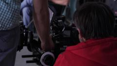 Camera set up and ready to shoot the movie. Film production Stock Footage