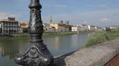 Arno River & City Skyline, Florence, Tuscany, Italy, Europe Stock Footage
