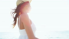 Portrait selfie of smiling ethnic female in sundress and sunhat Stock Footage