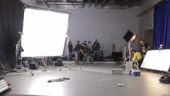 Set of the film with the crew. Film production Stock Footage