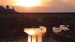 View of Ponte Vecchio at Sunset, Florence, Tuscany, Italy, Europe Stock Footage