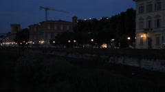 Arno River & City Skyline at Dusk, Florence, Tuscany, Italy, Europe Stock Footage