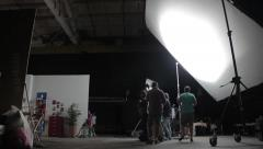 Behind the scenes of filming the movie. Sets the movie in the pavilion Stock Footage