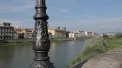 Arno River & City Skyline, Florence, Tuscany, Italy, Europe Stock Footage