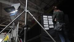 Board with storyboards on set of the film. Film production Stock Footage