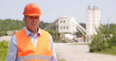 Serious Building Industry Worker Presentation Engineer Confident Expression Stock Footage