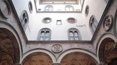 Vasari's Courtyard, Vecchio Palace, Florence, Tuscany, Italy, Europe Stock Footage