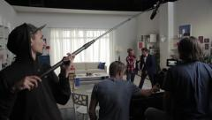 Behind the scenes shooting of the film (Comedy). Film production Stock Footage