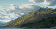 Beautiful scenery of mountain range in New Zealand South Island Stock Footage