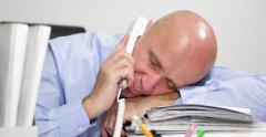 Pan View Tired Businessman Desk Falling Asleep Late Office Answering Phone Call Stock Footage