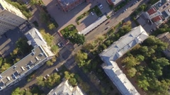 Aerial Shot of City Buildings and Road - stock footage