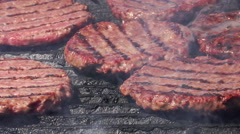 Fastfood - food meat - burgers on bbq barbecue grill Stock Footage