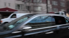 Several Town Cars Move Right to Left on East 36th Street NYC Stock Footage