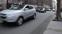 Town Cars on East 36th Street Right to Left Stock Footage