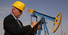 Extracting Oil Industry Manager Take Notes Checking Daily Maintenance Schedule Stock Footage