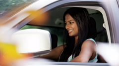 Portrait of happy Indian American woman proud after passing her driving test - stock footage