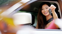 Portrait of young confident Asian American female with car insurance - stock footage
