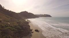 Aerial along a deserted beach Stock Footage