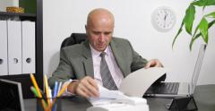 Businessman Company Director Marketing Manager File Document Laptop Office Work Stock Footage