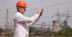 Electricity Company Engineer Touch Pad Verify Energetic Infrastructure Voltage Stock Footage