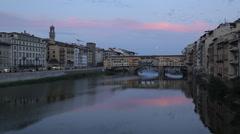 Ponte Vecchio & Arno River, Florence, Tuscany, Italy, Europe - stock footage
