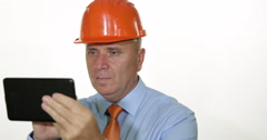Industry Businessman Technical Manager Browse Internet Tablet Electronic Gadget Stock Footage