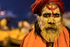 Portrait of an Indian Sadhu in Varanasi, Uttar Pradesh, India Stock Photos