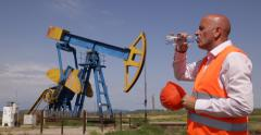 Oil Extracting Industry Platform Engineer Thirst Sweating Outside Drink Water Stock Footage