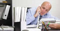 Accounting Office Desk Files Sleepy Businessman Late Working Wake Cellphone Call Stock Footage