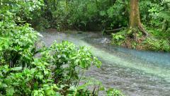 Rain Storm Jungle Stream Tenorio Volcano National Park Costa Rica Stock Footage
