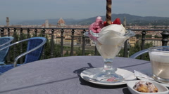 Italian Ice Cream & City Skyline from Piazzale Michelangelo, Florence, Tuscany, Stock Footage