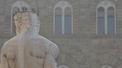 Neptune Statue, Piazza Della Signoria, Florence, Tuscany, Italy, Europe Stock Footage
