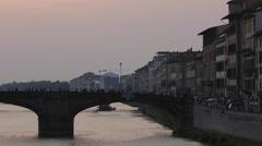 Ponte Santa Trinita & Skyline at Sunset, Florence, Tuscany, Italy, Europe Stock Footage