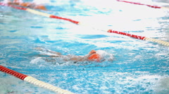 Swimming pool and swimmer during the training. Stock Footage