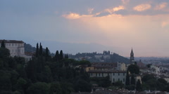Sunset from Piazzale Michelangelo, Florence, Tuscany, Italy, Europe Stock Footage