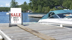 Boat sale at Marina. Stock Footage