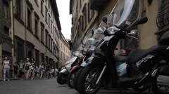 Motor Cycles on Via di Neri, Florence, Tuscany, Italy, Europe Stock Footage