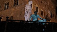 Neptune Fountain, Piazza Della Signoria, Florence, Tuscany, Italy, Europe Stock Footage