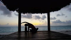 Yoga fitness lifestyle of young ethnic girl outdoor Stock Footage