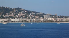 Panorama of Cannes From the Sea, France Stock Footage