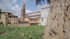 Cathedral San Martino from City Walls, Lucca, Tuscany, Italy, Europe - stock footage